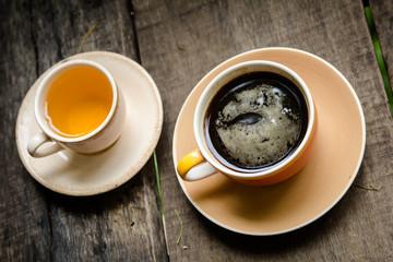 black coffee and tea
