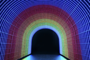 The tunnel of rainbow LED light