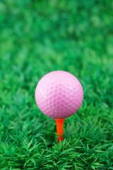 Pink golf ball on orange tee in golf course
