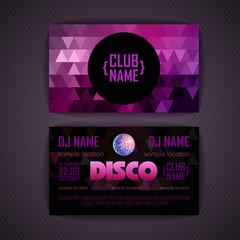 Disco geometric triangle background.  Disco card