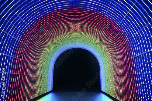Foto op Canvas Tunnel The tunnel of rainbow LED light
