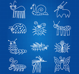 Bugs And Insects Icon Collection Set On Blueprint