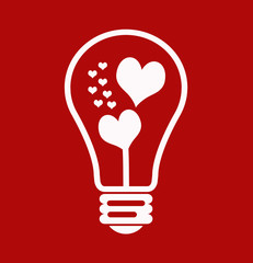 White hearts in bulb outline on red background