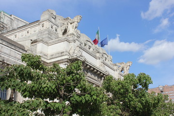 Architecture of the upper facade of Milano central station