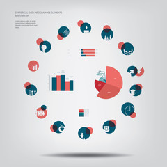 Statistics icons and charts set in flat design suitable for