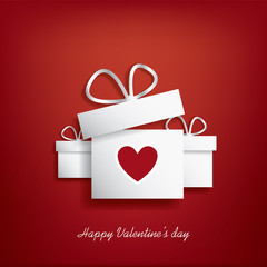 Valentine's day concept illustration with gift box and heart