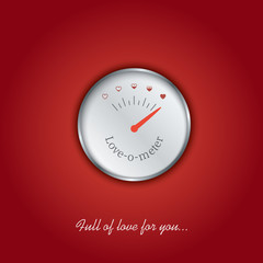 Valentine card with love gauge concept design on red background