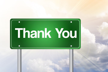 Thank You Green Road Sign concept