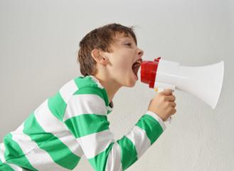 Kid shouting througt megaphone