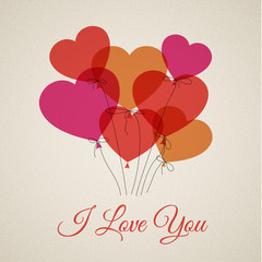 Vector Happy Valentine's card with hearts