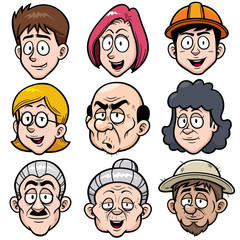 Vector illustration of Cartoon face set