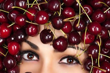 beautiful brown eyes woman in cherry