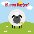 White Sheep With Flower On A Hill Modern.Flat Design With Text