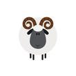 Cute Ram Sheep.Modern Flat Design