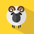 Cute Ram Sheep.Modern Flat Design Illustration variant 2