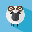 Cute Ram Sheep.Modern Flat Design Illustration variant 3