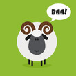 Cute Ram Sheep.Modern Flat Design With Speech Bubble And Text