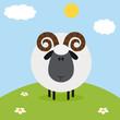 Ram Black Head Sheep With Flower On A Hill.Modern Flat Design