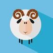 Funny Ram Sheep.Modern Flat Design. Variant 3