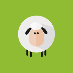 Cute Sheep Icon Modern Flat Design