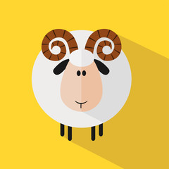 Funny Ram Sheep.Modern Flat Design Illustration variant 2