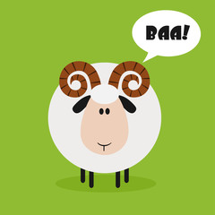 Ram Sheep.Modern Flat Design With Speech Bubble And Text