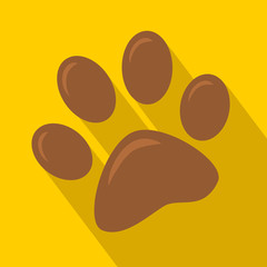 Brown Paw Print Icon.Modern Flat Design