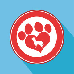 Love Paw Print Red Circle Icon.Modern Flat Design