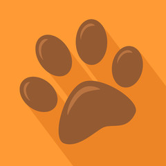 Brown Paw Print.Modern Flat Design