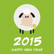 Cute White Sheep With A Flower.Modern Flat Design New Year Card