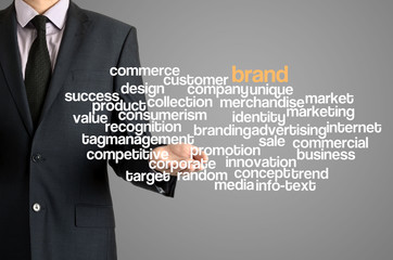 Business man presenting wordcloud related to brand