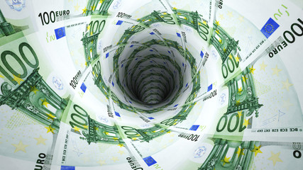 Background from  euro banknotes in perspective view
