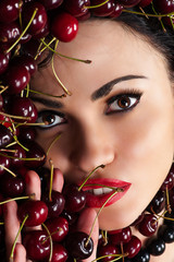 fashion woman face in cherry