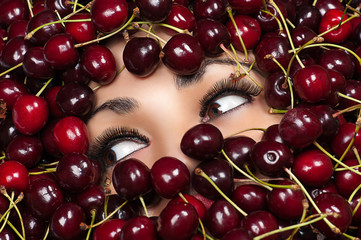 brown eyes woman in cherry