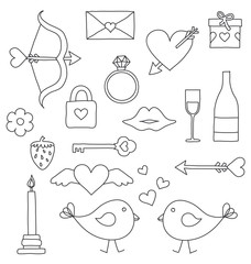 Valentine drawing isolated things set