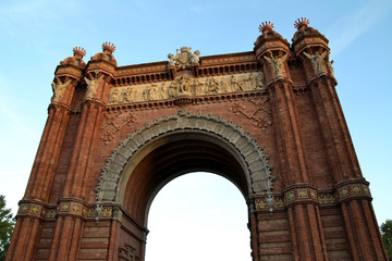Closeup of Arc de Triomf in the city of Barcelona, Spain