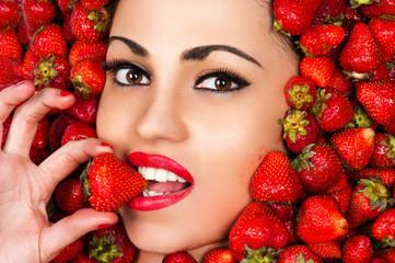 beautiful face in strawberry closeup