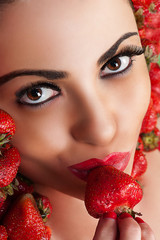 beautiful face in strawberry