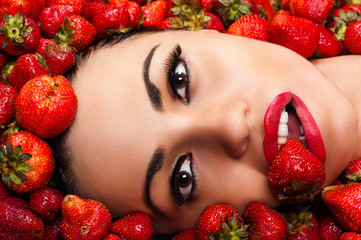 fashion beautiful face in strawberry