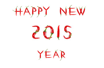 Picture of the words HAPPY NEW YEAR written with red chili peppe