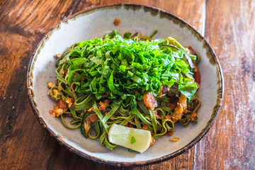 Green fettucine salad