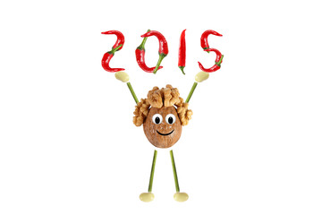 Healthy eating. Funny little man of the walnut raises 2015.