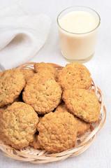 Oatmeal cookies and milkshake in glass
