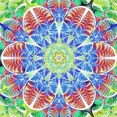 Multicolored symmetrical pattern of the leaves. Collection - tre