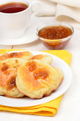 Fritters with yellow raspberry confiture