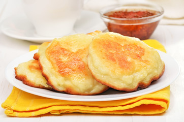Fritters on white plate