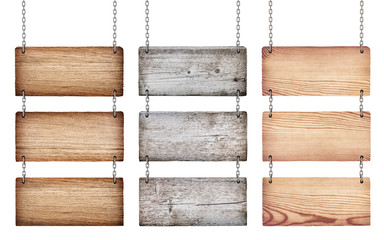 collection of various wooden signs with chain on white backgroun