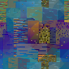 Megapolice seamless background with geometric effect