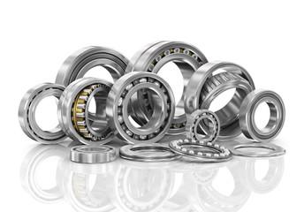 Set of steel ball bearings in closeup.