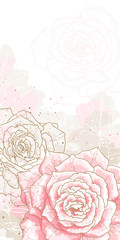Romantic background with pink roses